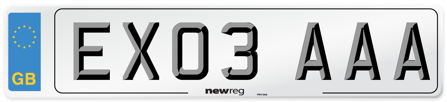 EX03 AAA Number Plate from New Reg