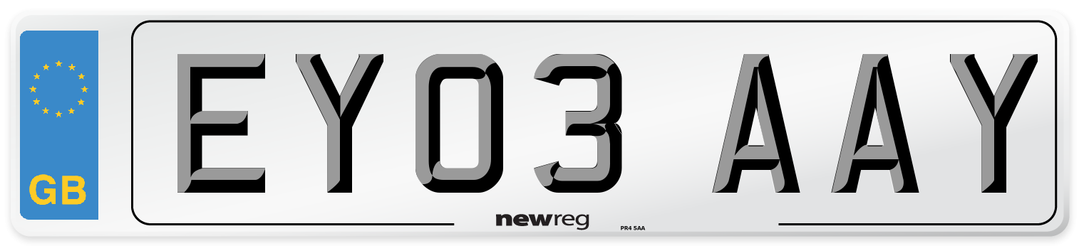 EY03 AAY Number Plate from New Reg