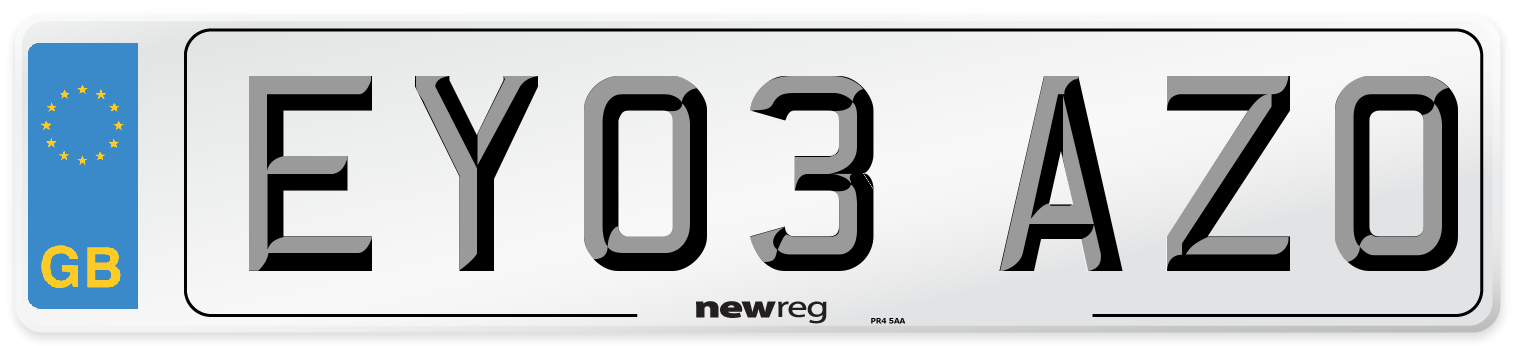 EY03 AZO Number Plate from New Reg