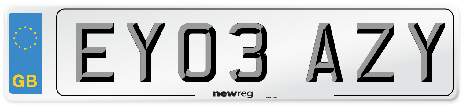 EY03 AZY Number Plate from New Reg