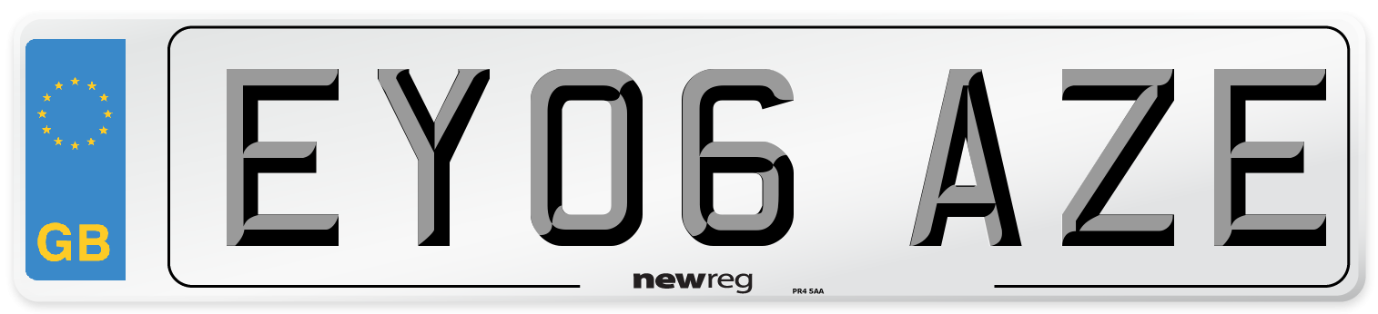 EY06 AZE Number Plate from New Reg