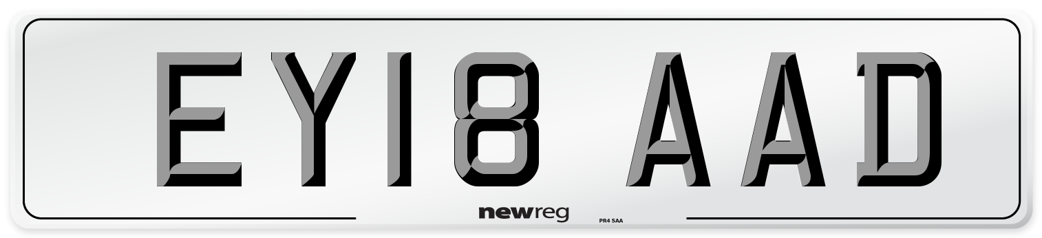 EY18 AAD Number Plate from New Reg