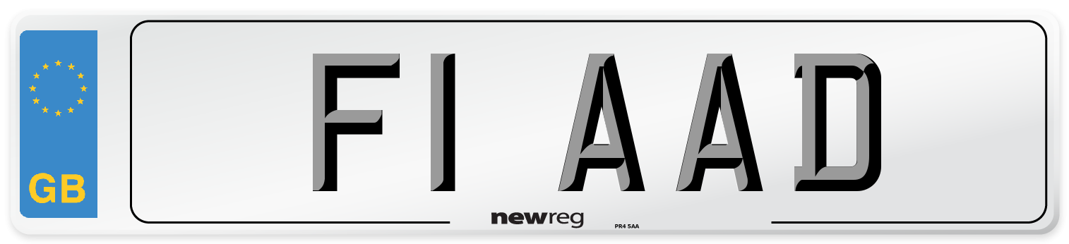 F1 AAD Number Plate from New Reg
