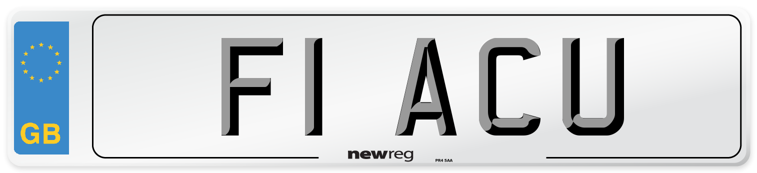 F1 ACU Number Plate from New Reg
