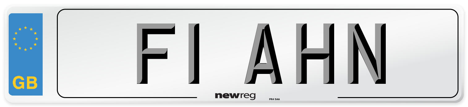 F1 AHN Number Plate from New Reg