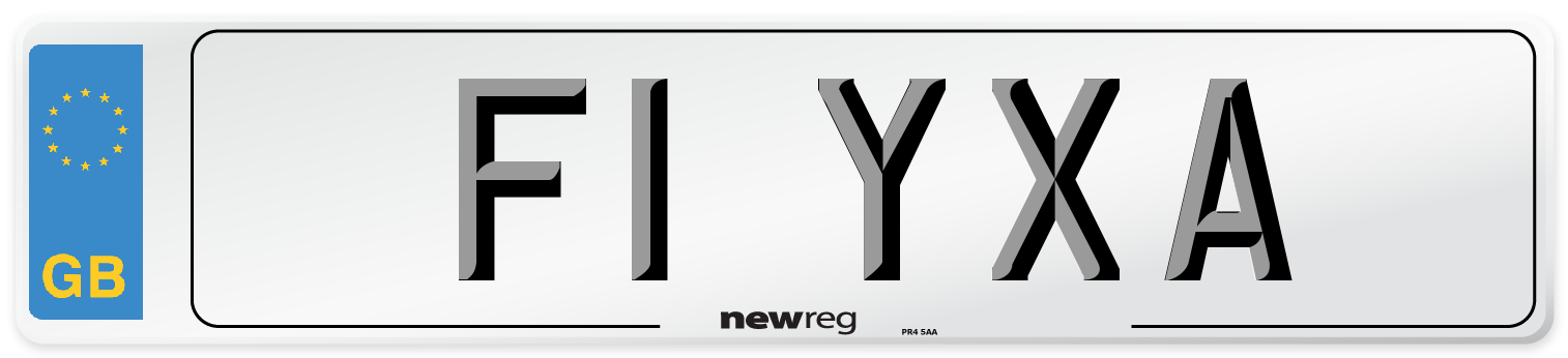 F1 YXA Number Plate from New Reg