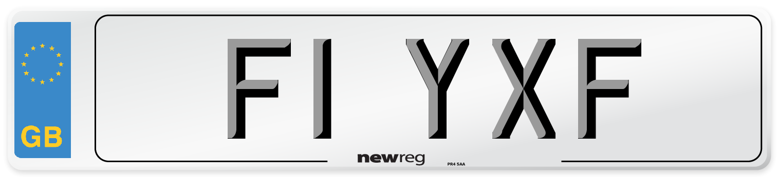 F1 YXF Number Plate from New Reg