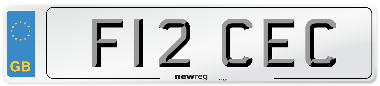 F12 CEC Number Plate from New Reg