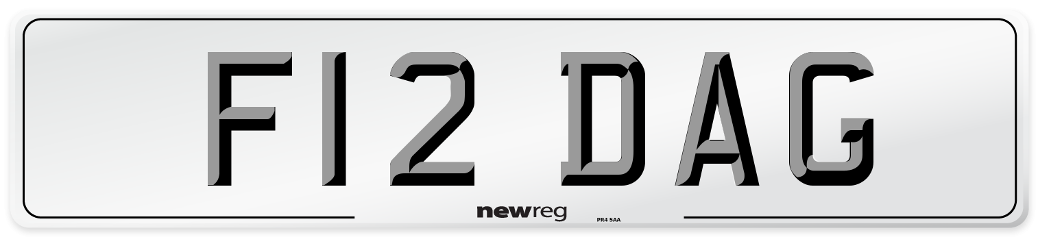 F12 DAG Number Plate from New Reg