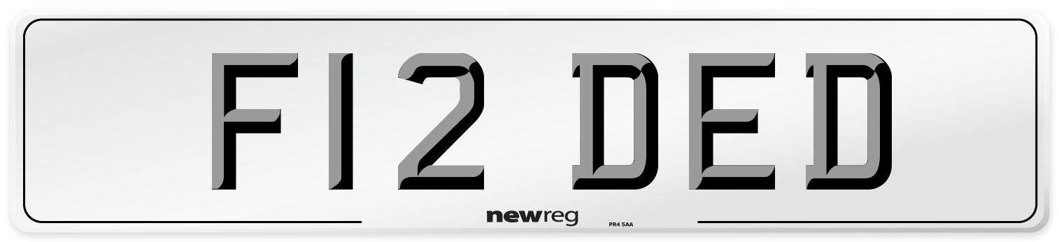 F12 DED Number Plate from New Reg