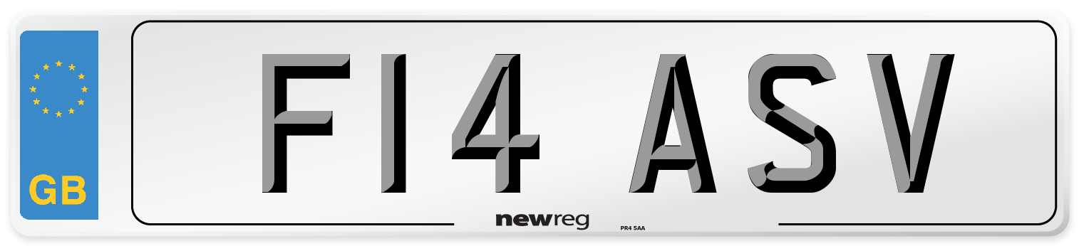 F14 ASV Number Plate from New Reg