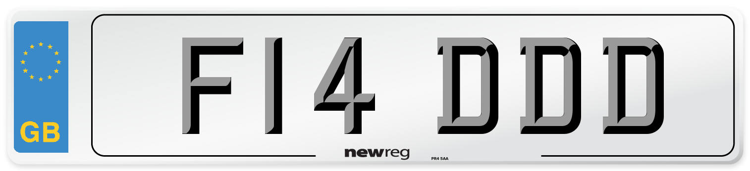 F14 DDD Number Plate from New Reg