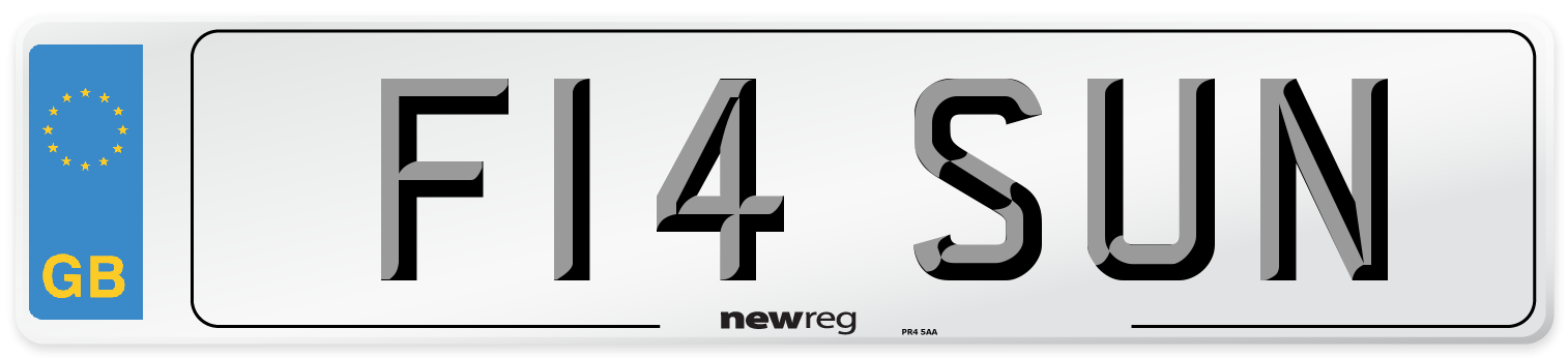 F14 SUN Number Plate from New Reg