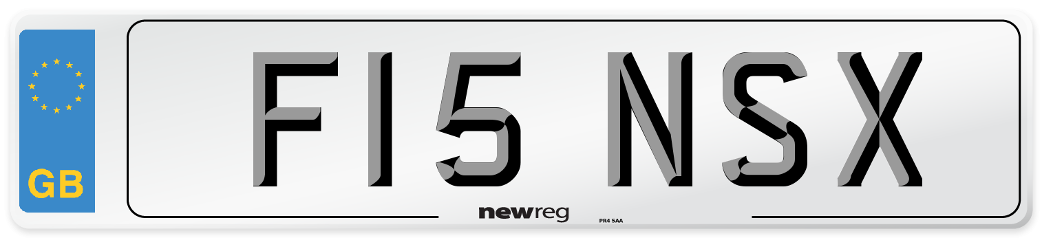 F15 NSX Number Plate from New Reg
