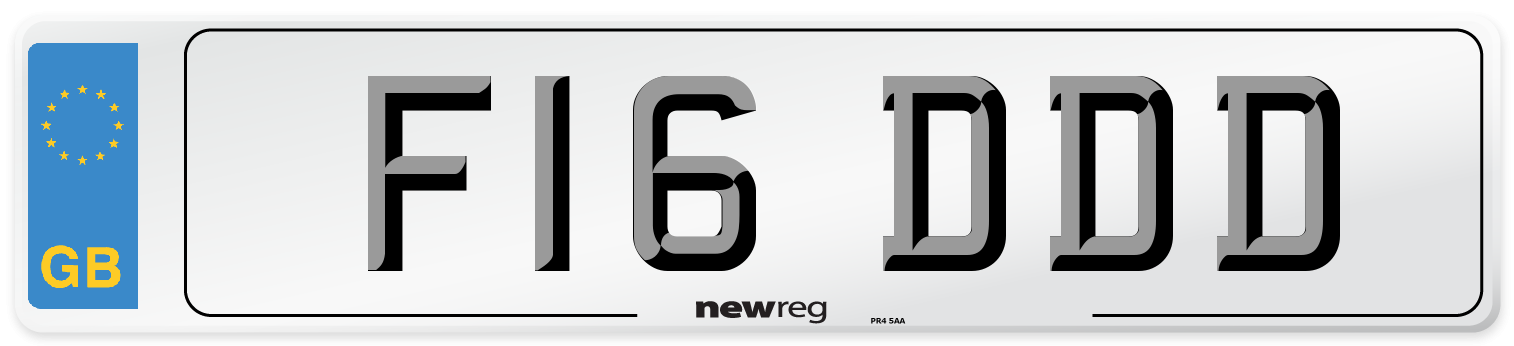F16 DDD Number Plate from New Reg
