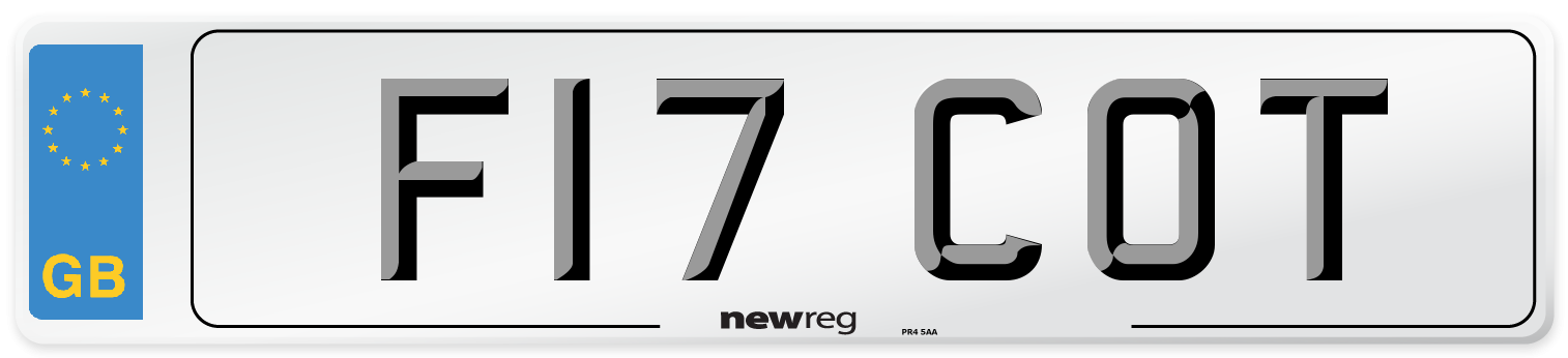 F17 COT Number Plate from New Reg