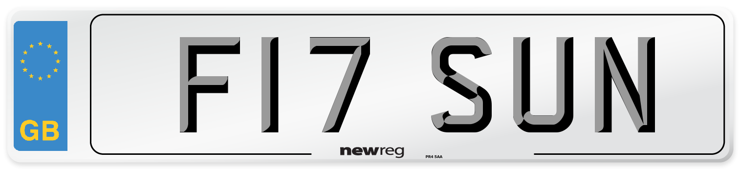 F17 SUN Number Plate from New Reg