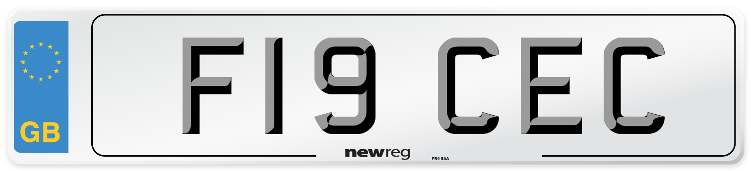 F19 CEC Number Plate from New Reg