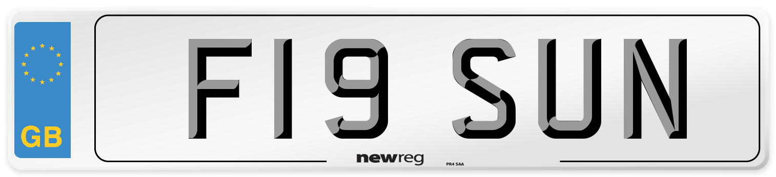 F19 SUN Number Plate from New Reg