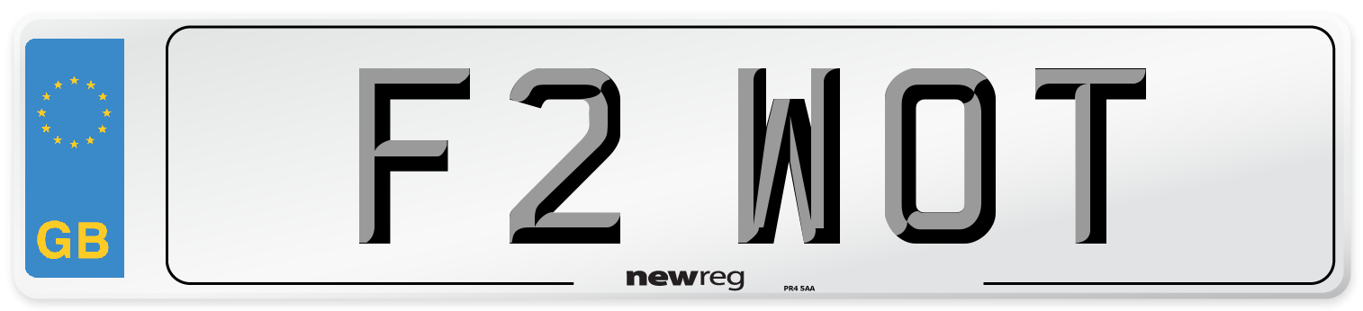 F2 WOT Number Plate from New Reg