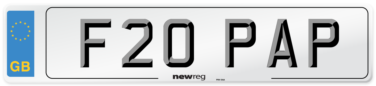 F20 PAP Number Plate from New Reg