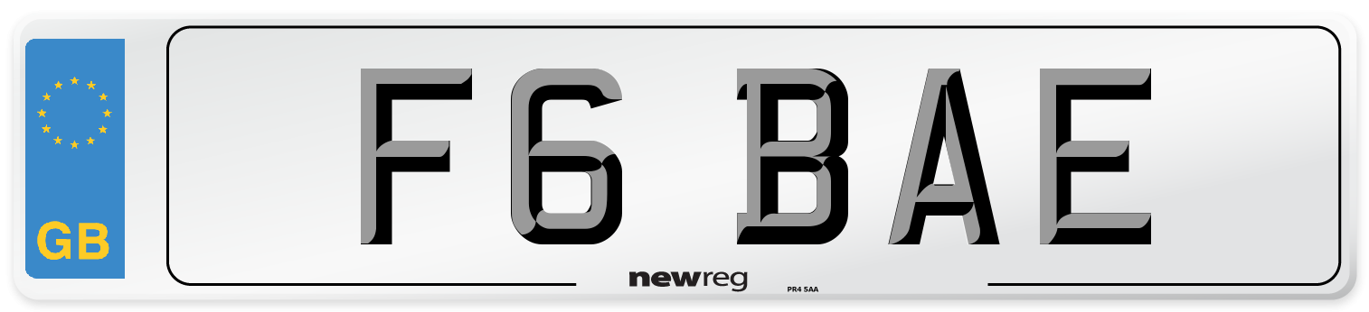 F6 BAE Number Plate from New Reg