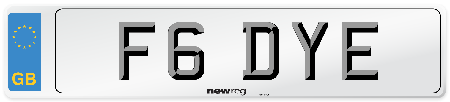 F6 DYE Number Plate from New Reg