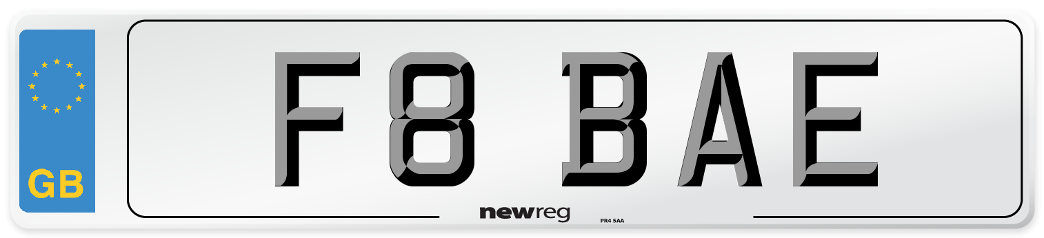 F8 BAE Number Plate from New Reg