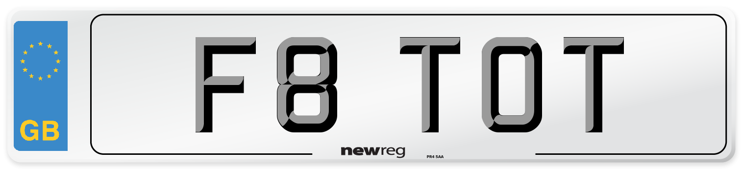 F8 TOT Number Plate from New Reg