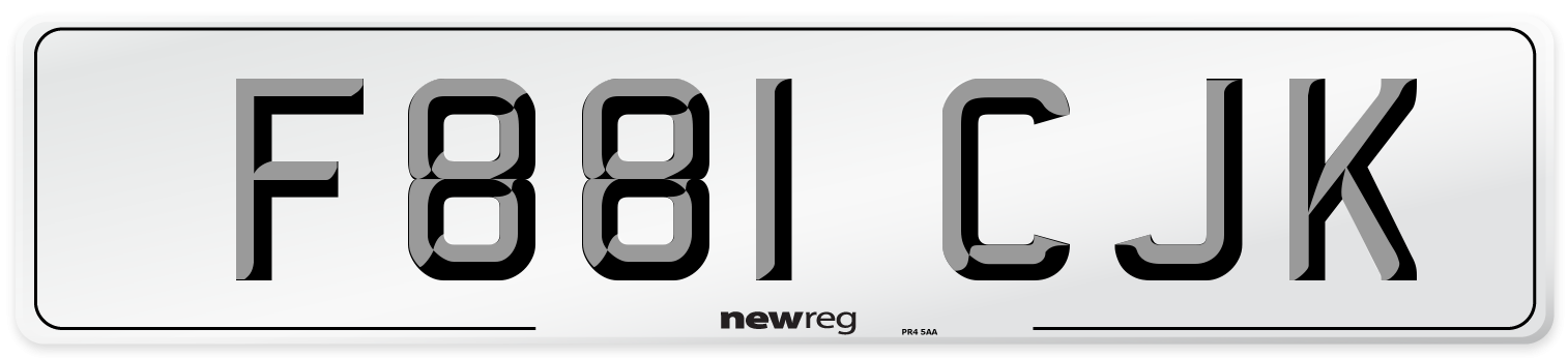 F881 CJK Number Plate from New Reg