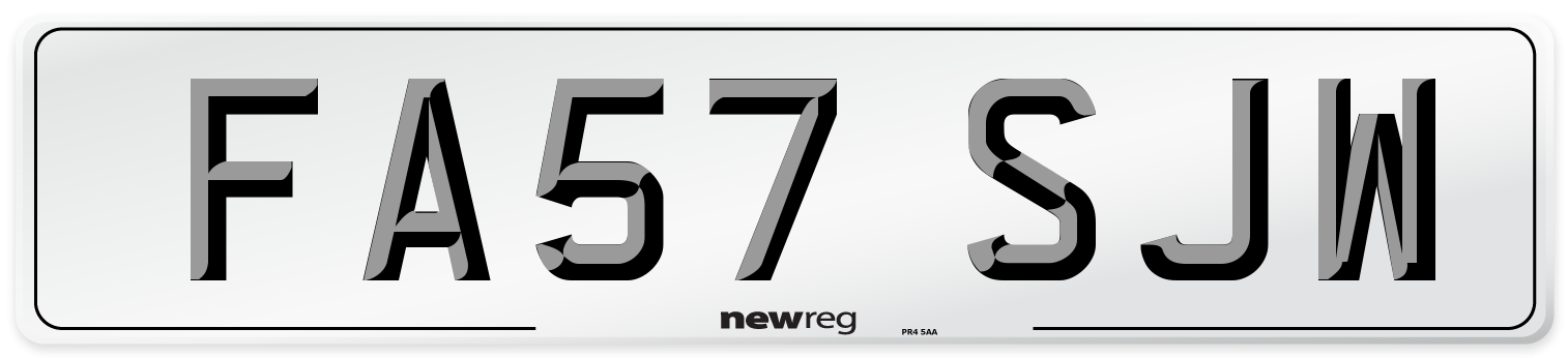 FA57 SJW Number Plate from New Reg