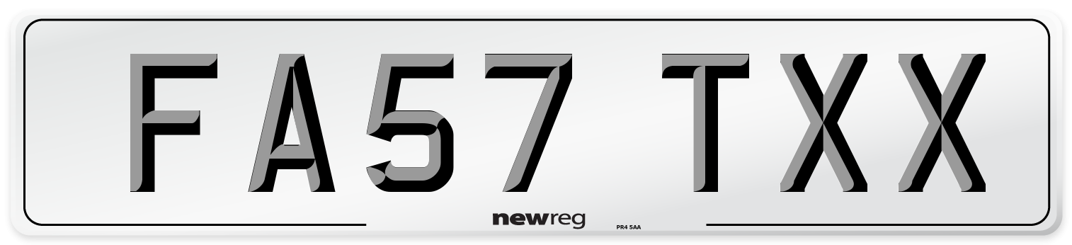 FA57 TXX Number Plate from New Reg