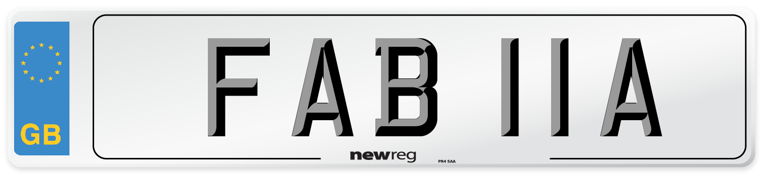 FAB 11A Number Plate from New Reg
