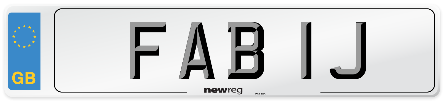 FAB 1J Number Plate from New Reg