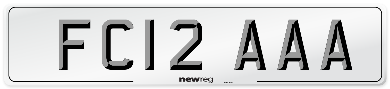 FC12 AAA Number Plate from New Reg