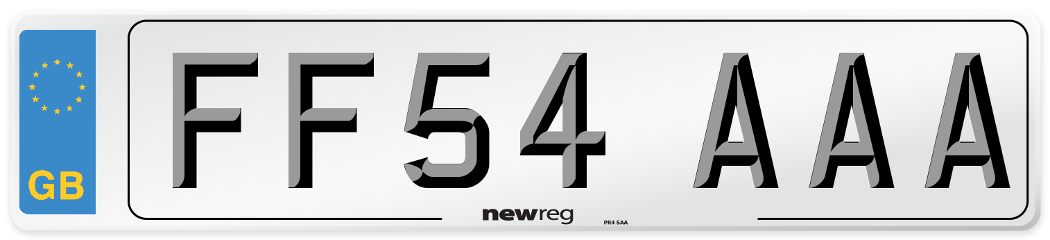FF54 AAA Number Plate from New Reg