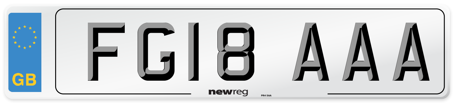 FG18 AAA Number Plate from New Reg