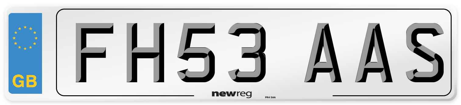 FH53 AAS Number Plate from New Reg