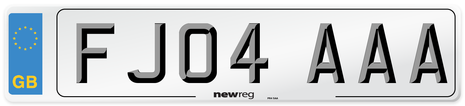 FJ04 AAA Number Plate from New Reg