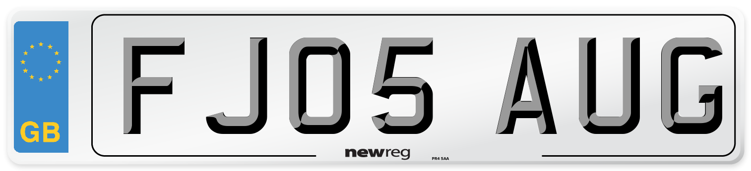 FJ05 AUG Number Plate from New Reg