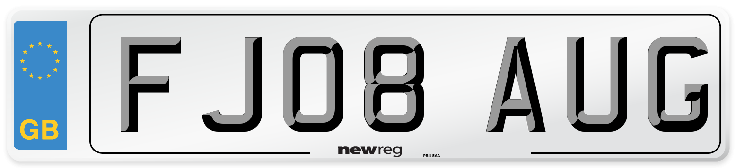 FJ08 AUG Number Plate from New Reg