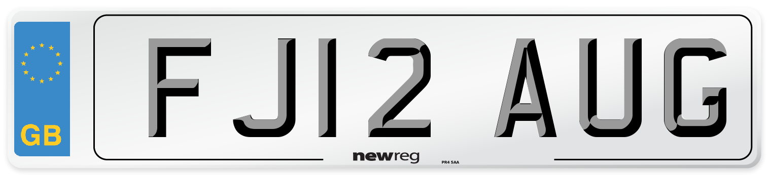 FJ12 AUG Number Plate from New Reg