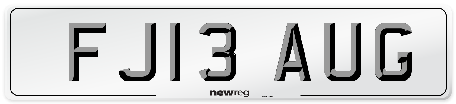 FJ13 AUG Number Plate from New Reg