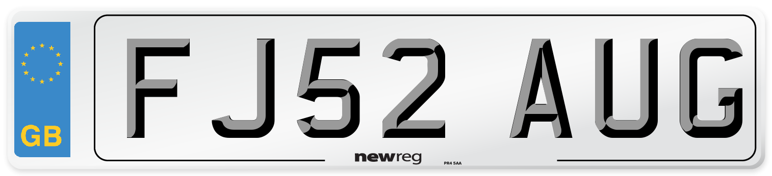 FJ52 AUG Number Plate from New Reg