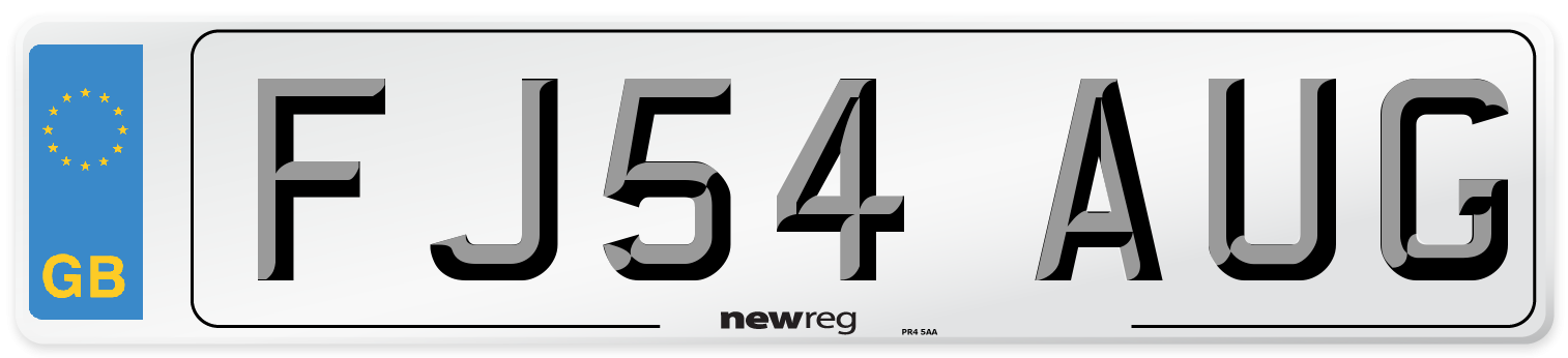 FJ54 AUG Number Plate from New Reg
