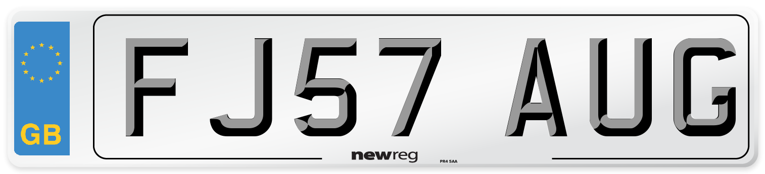 FJ57 AUG Number Plate from New Reg