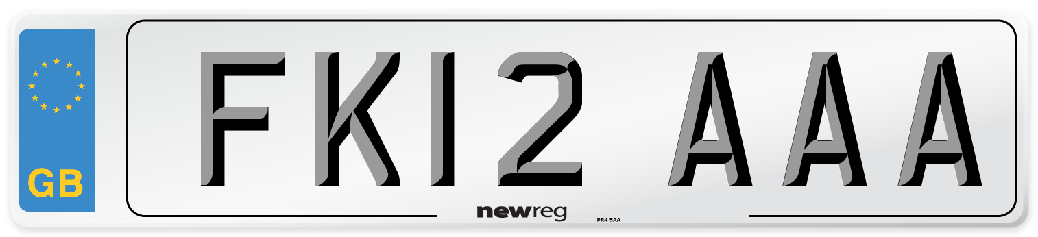 FK12 AAA Number Plate from New Reg