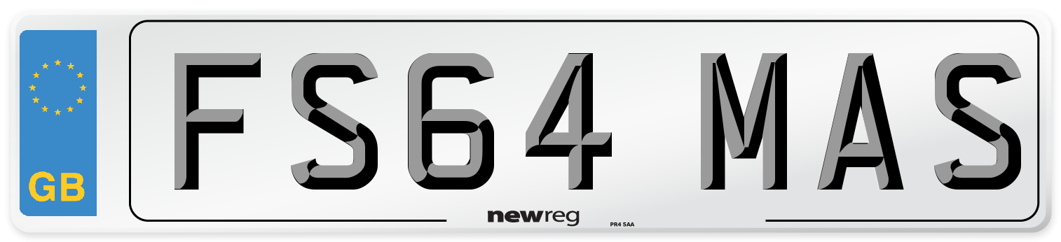FS64 MAS Number Plate from New Reg