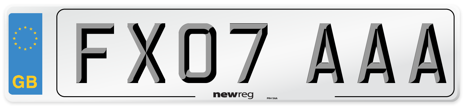 FX07 AAA Number Plate from New Reg