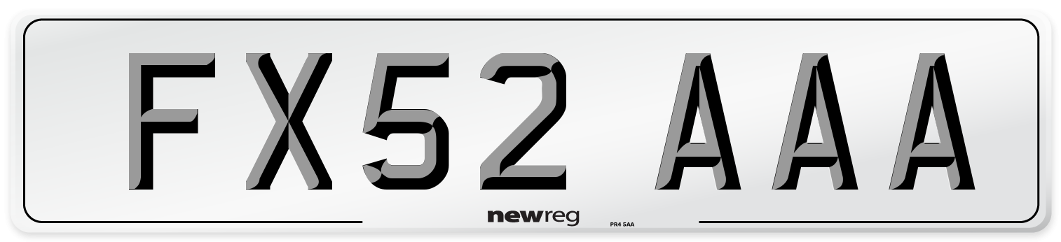 FX52 AAA Number Plate from New Reg